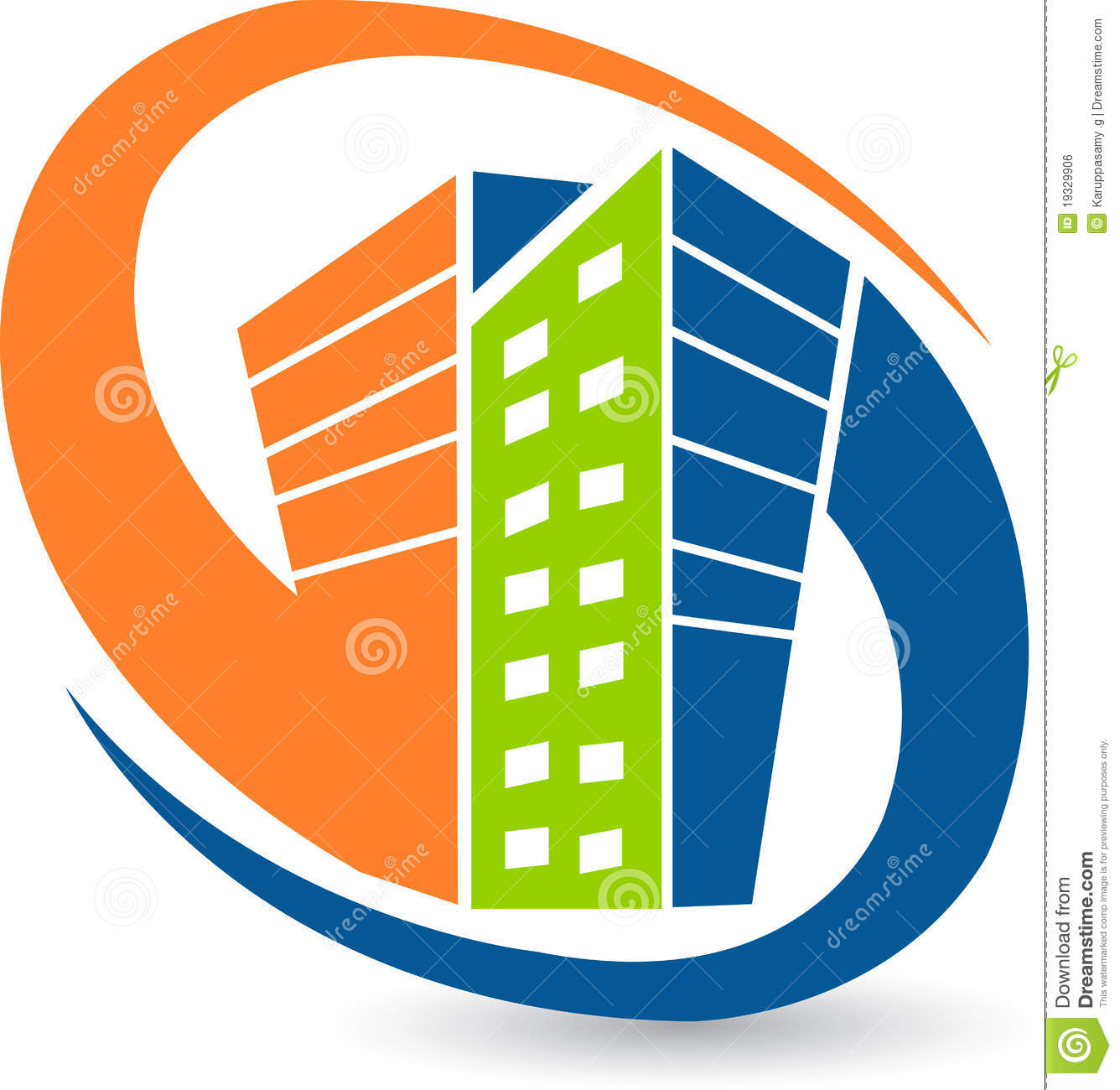 Orange real estate stock. Building logo clipart