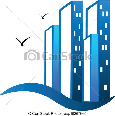 Building logo cliparts jpg royalty free library Vector Illustration of Modern blue buildings logo - Modern ... jpg royalty free library