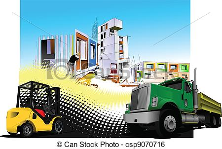 Building site clipart clipart download Clip Art Vector of Building site with lorry (truck) a - Building ... clipart download