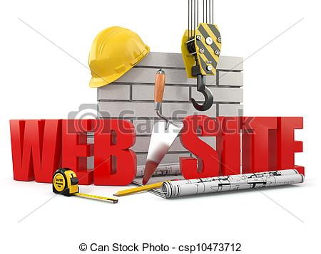 Building site clipart clip free library Clipart of Web site building. Crane, wall and tools. 3d ... clip free library