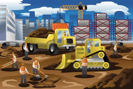 Building site clipart. Construction machines cliparts stock