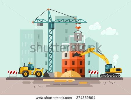 Building site clipart. Facade stock vectors vector