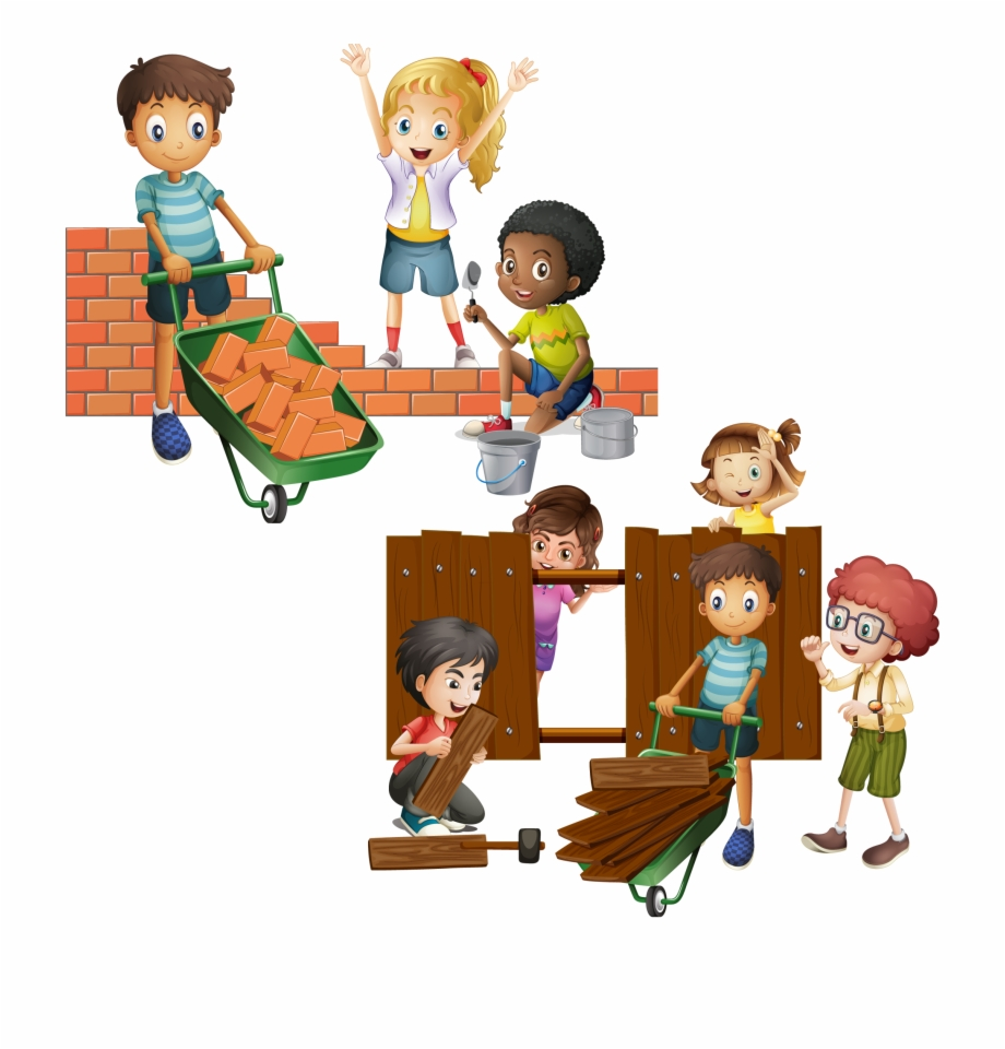 Buildings and kids clipart picture royalty free stock Wall Brick Building Clip Art Child And - Building A Fence Cartoon ... picture royalty free stock