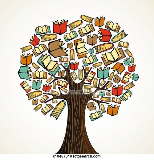 Transitional in life clipart banner transparent Education concept tree with books Clipart | inclusion | Book tree ... banner transparent