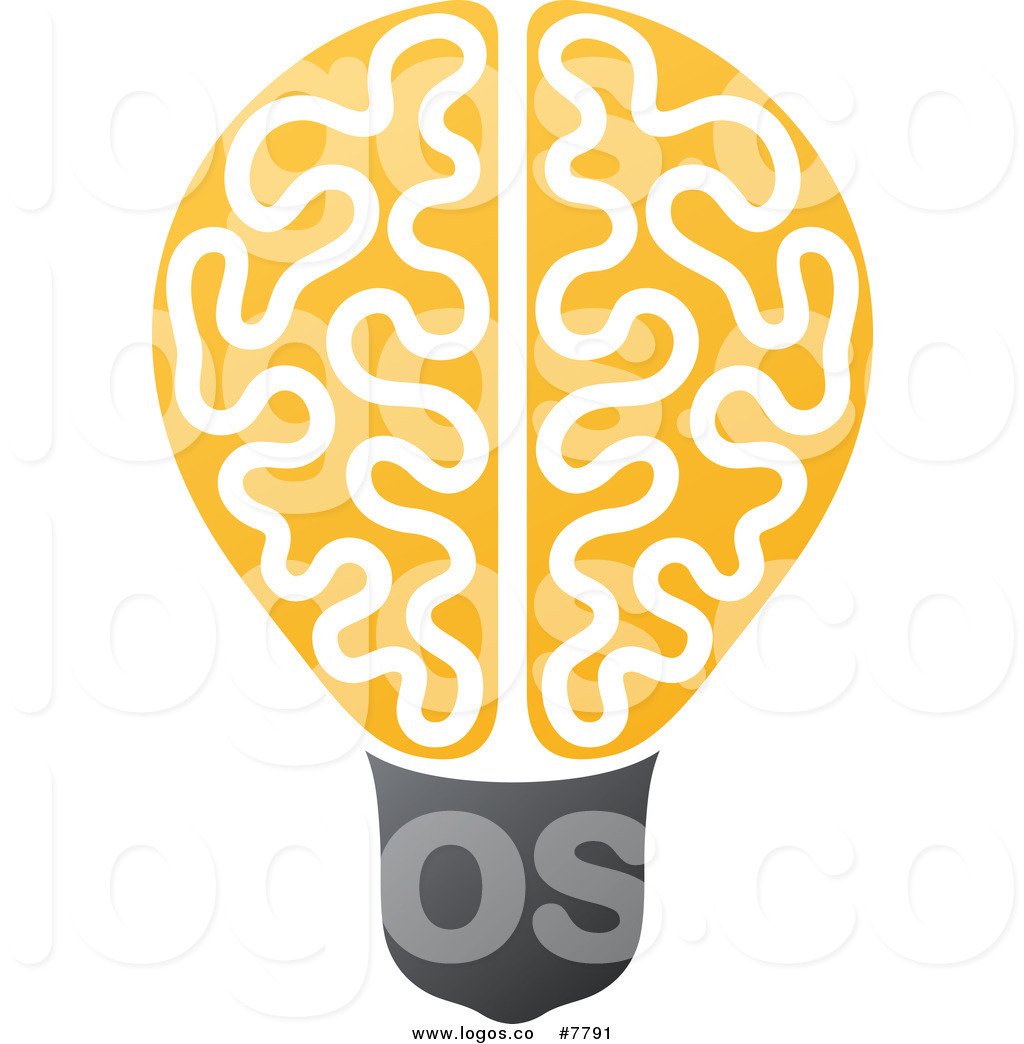 Bulb logo clipart png free Royalty Free Clip Art Vector Logo of a Yellow Brain Light Bulb by ... png free