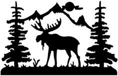 Bull moose clipart banner library stock Bull moose clipart | DIY Moose Cabin Decor | Moose silhouette ... banner library stock