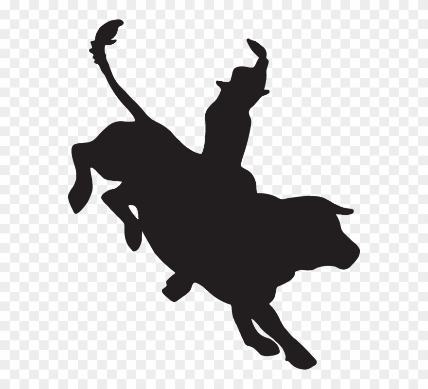 Bull riding clipart vector black and white Bull Clipart Silhouette - Bull Rider Silhouette Png Transparent Png ... vector black and white