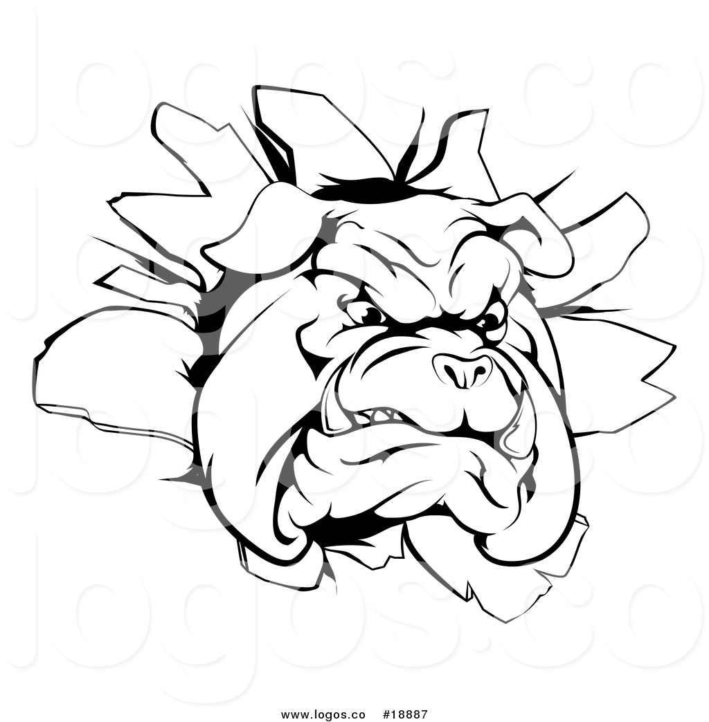Bulldog head breaking out clipart black and white banner free download Vector Logo of a Black and White Bulldog Breaking Through a Wall by ... banner free download