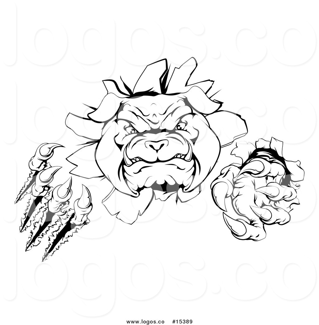 Bulldog head breaking out clipart black and white clip art Royalty Free Vector Logo of a Menacing Bulldog Mascot Aggressively ... clip art