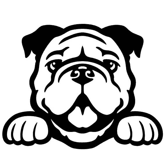 Bulldog head breaking out clipart black and white image freeuse stock Bulldog Peeking Cute Dog 5\
