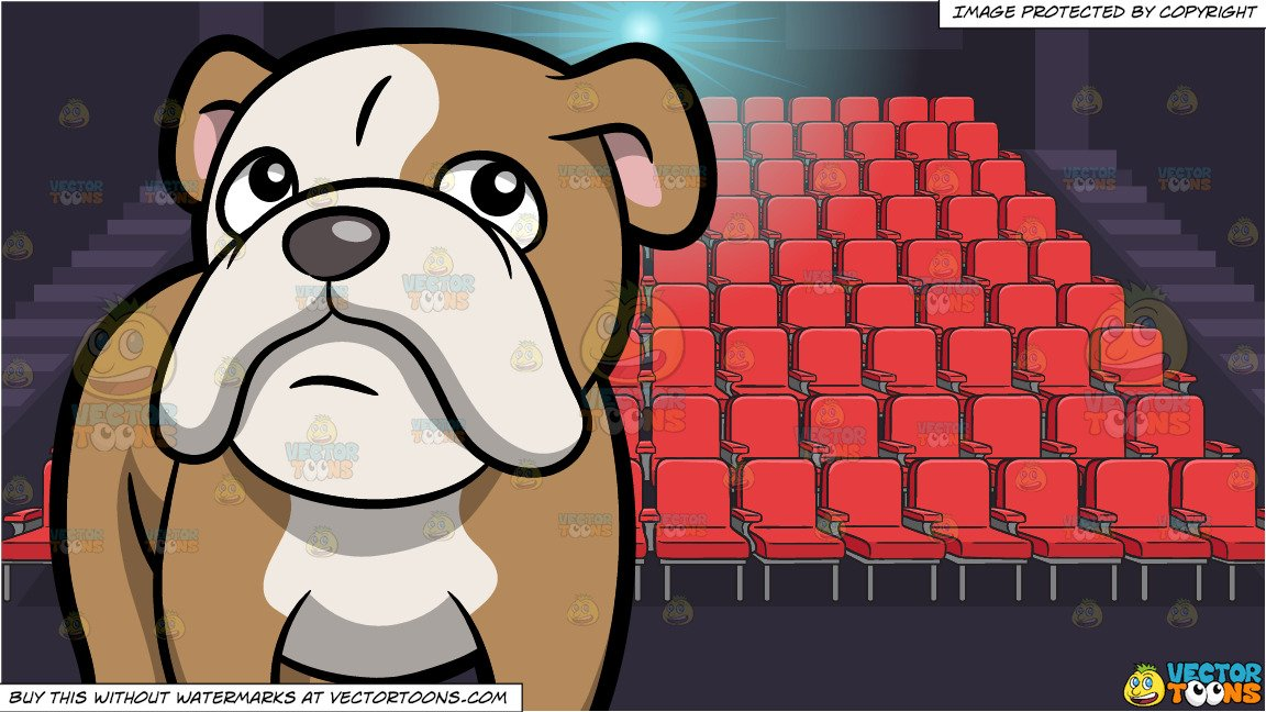 Bulldog standing clipart graphic royalty free stock An Adorable English Bulldog Standing On All Fours and Movie Theater Seats  Background graphic royalty free stock