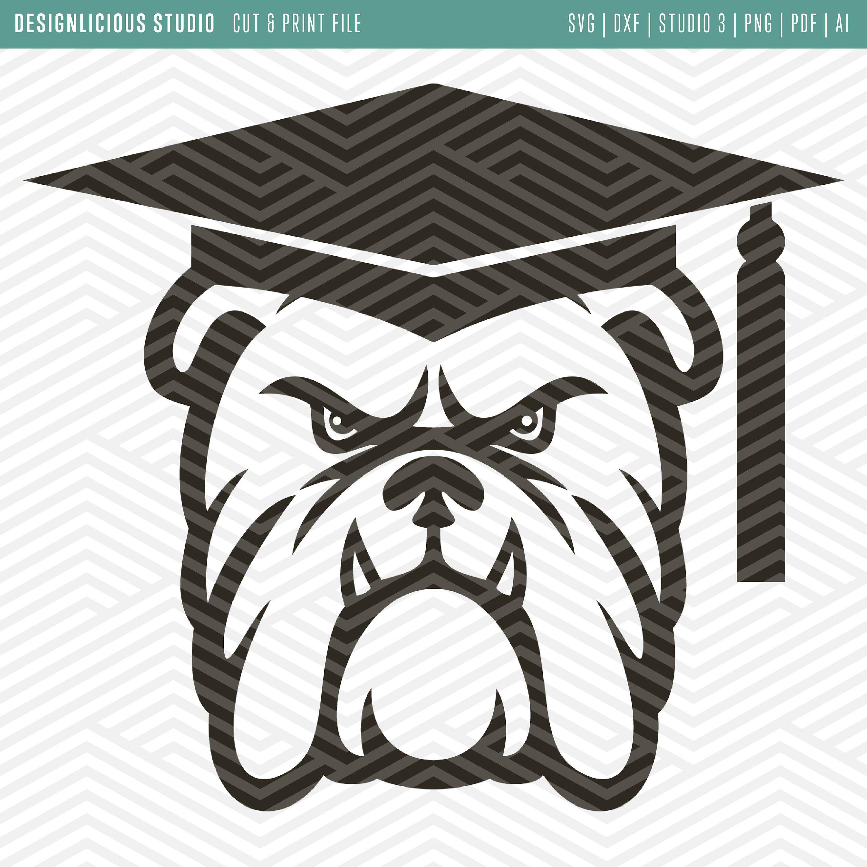 Bulldog with graduation cap clipart svg download Cut & Print Files | Bulldog Graduation | Designlicious Studio ... svg download
