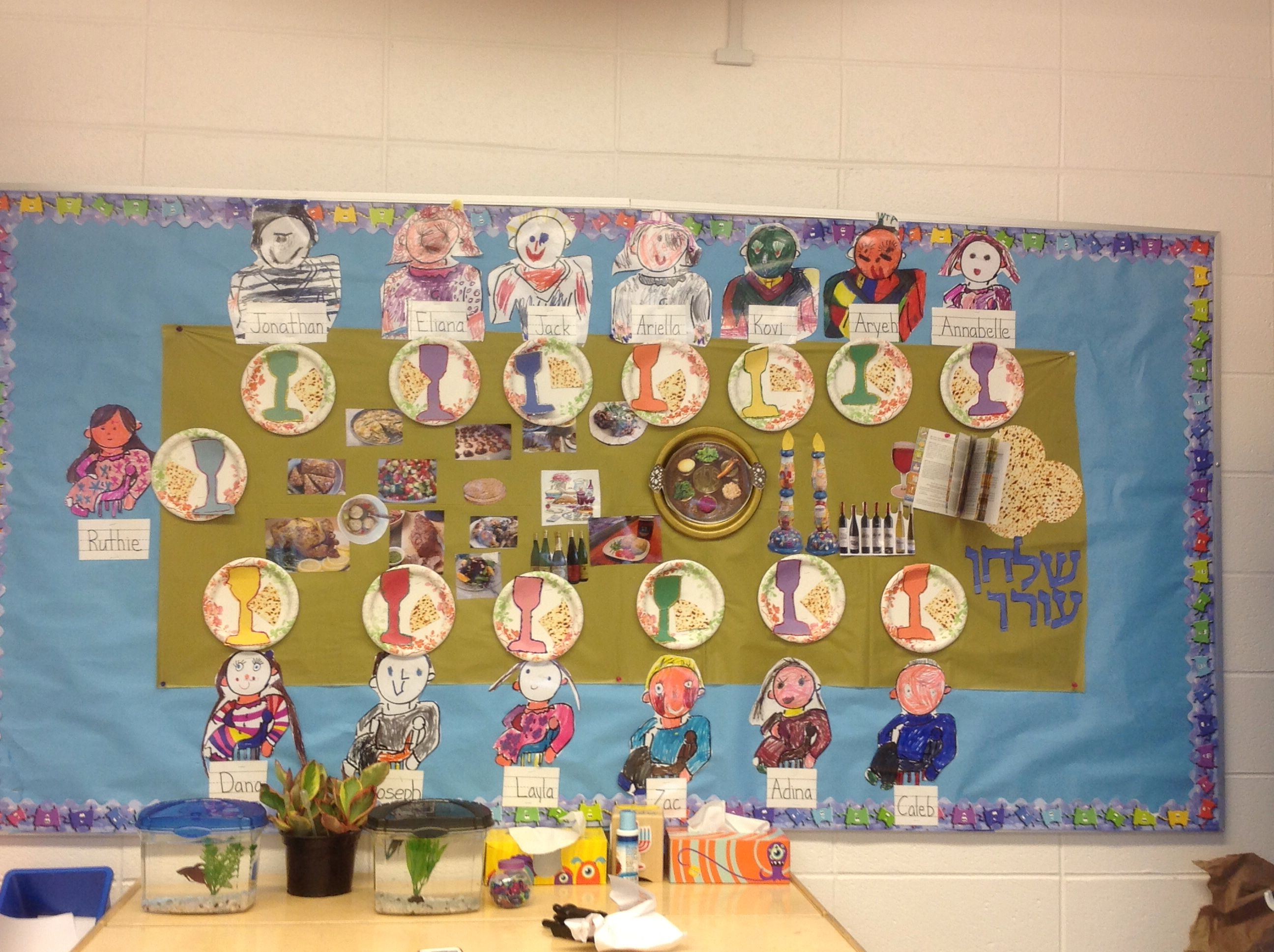Bulletin boards celebrating holiday traditionsfor preschool clipart image library library Adorable Pesach bulletin board doubles as the shulchan orech page in ... image library library