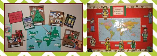Bulletin boards celebrating holiday traditionsfor preschool clipart vector stock Christmas Around the World! - Winter Holiday Bulletin Board Idea ... vector stock