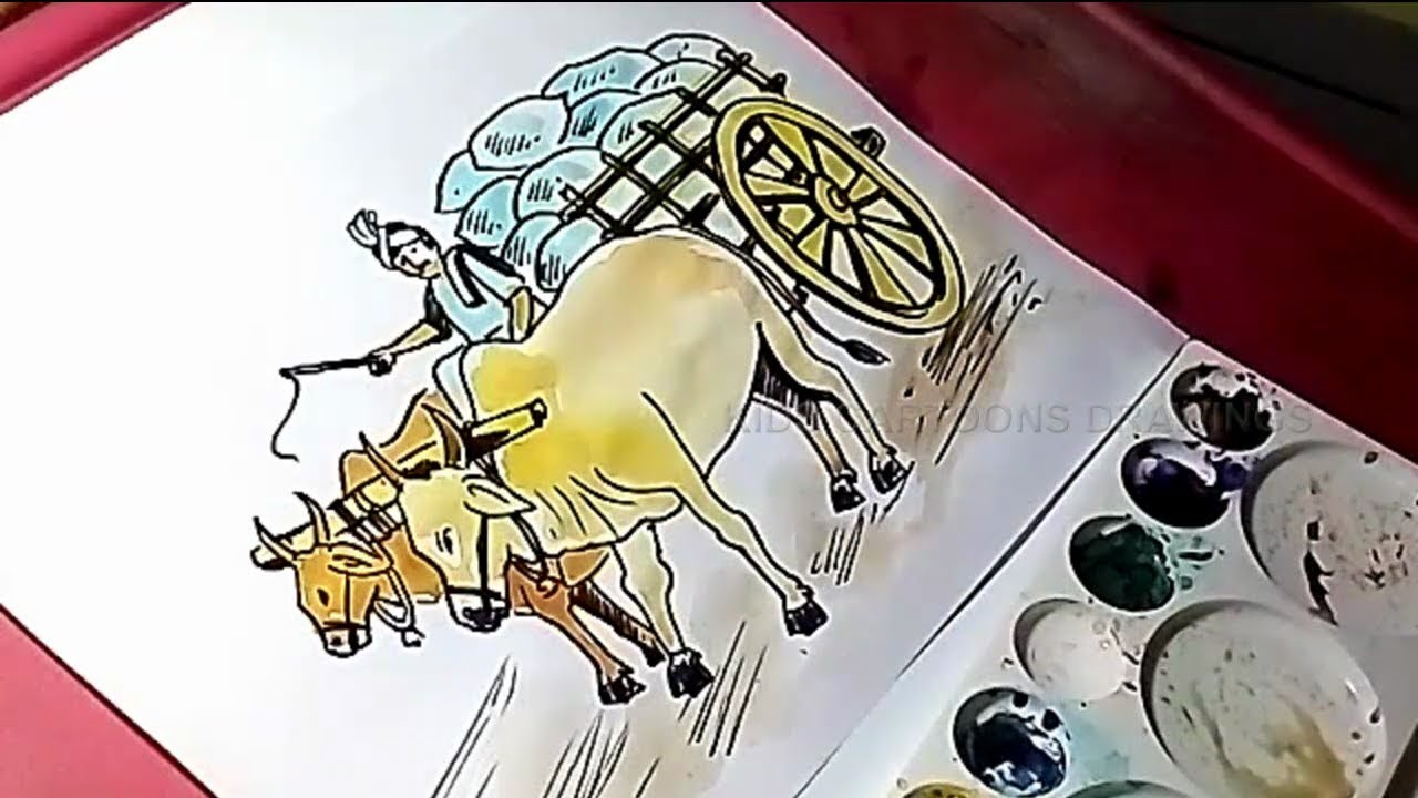 Bullock cart clipart clip art royalty free library How to Draw Bullock cart with Farmer Drawing for Kids clip art royalty free library