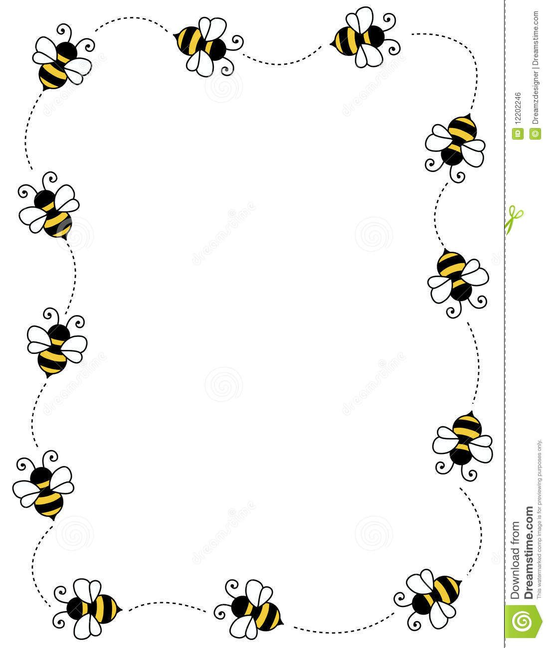 Bumble bee border clipart svg library stock clip art frames with bumble bees | ... on white background page ... svg library stock
