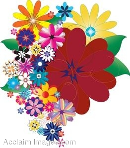 Bunch of flowers clip art picture black and white download Clip Art of Colorful Bunch of Flowers picture black and white download