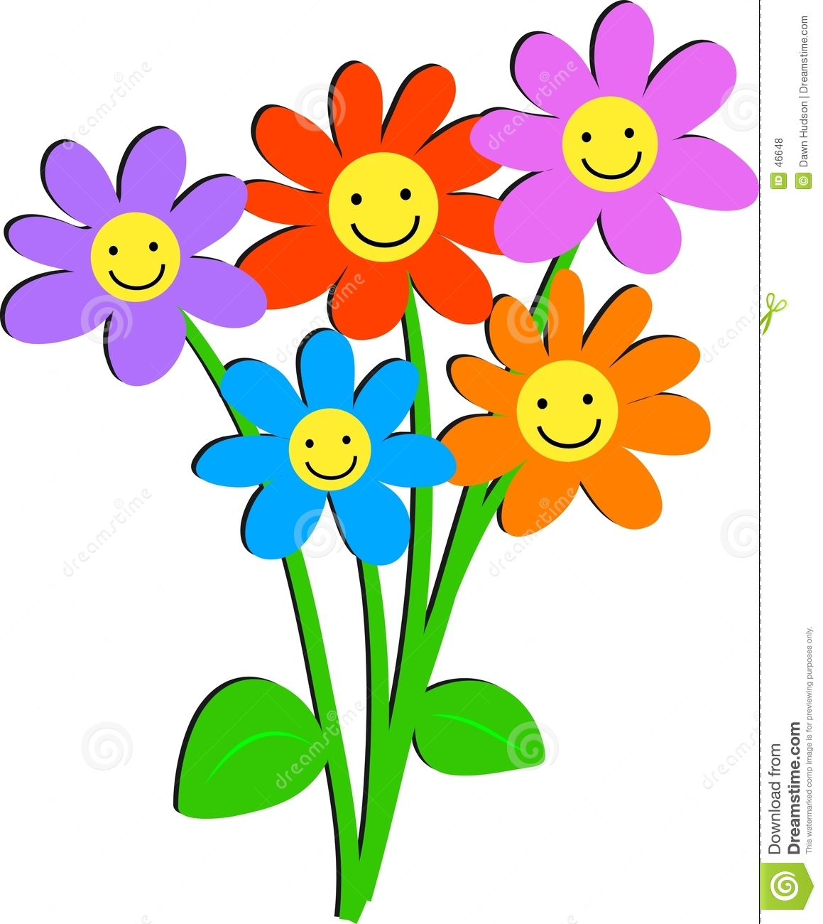 Bunch of flowers clip art free picture stock Happy Smile Flower Clipart - Clipart Kid picture stock