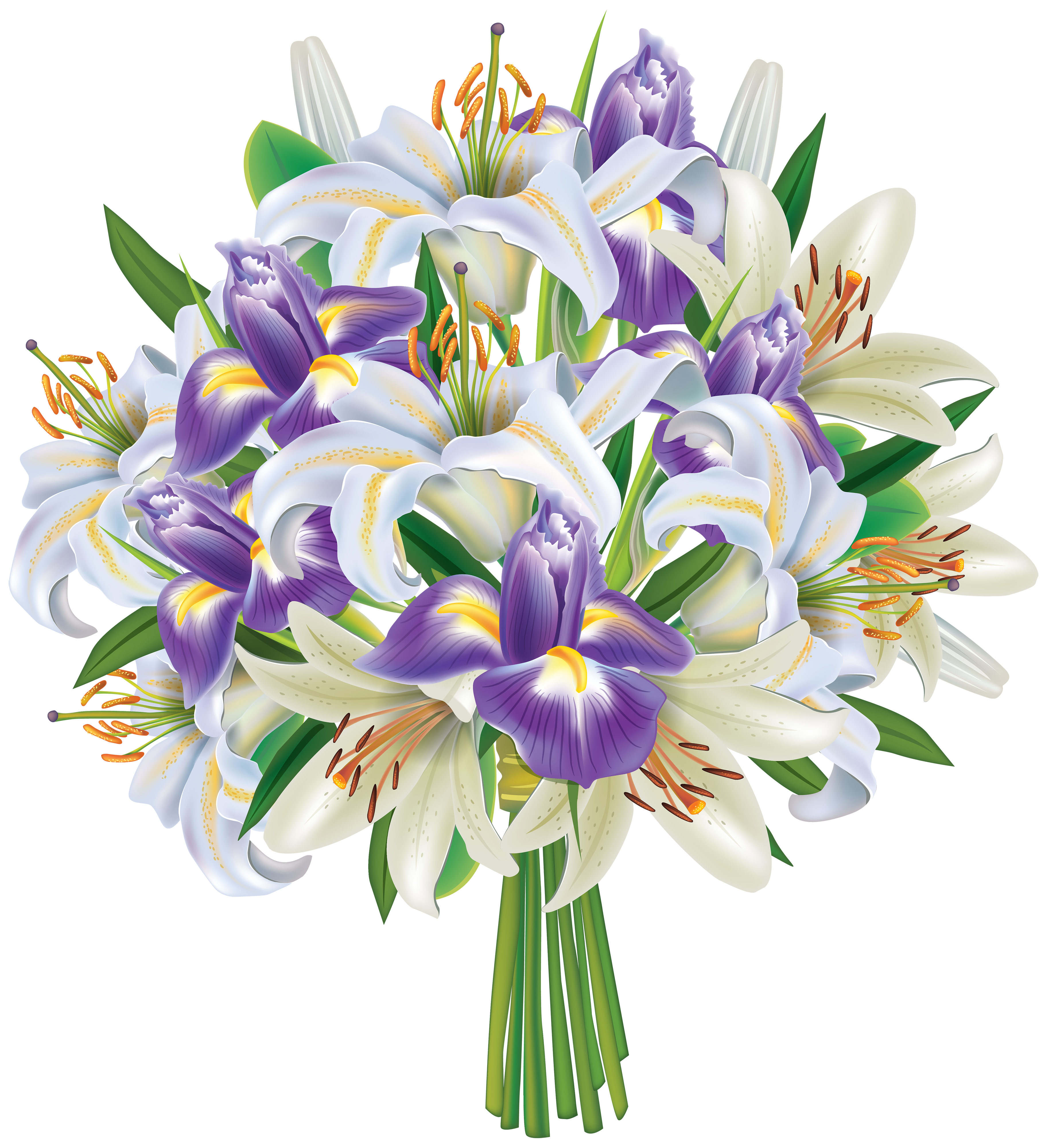 Clipart flower bouquet graphic free stock Purple Iris Flowers and Lilies Bouquet PNG Clipart Image | Gallery ... graphic free stock