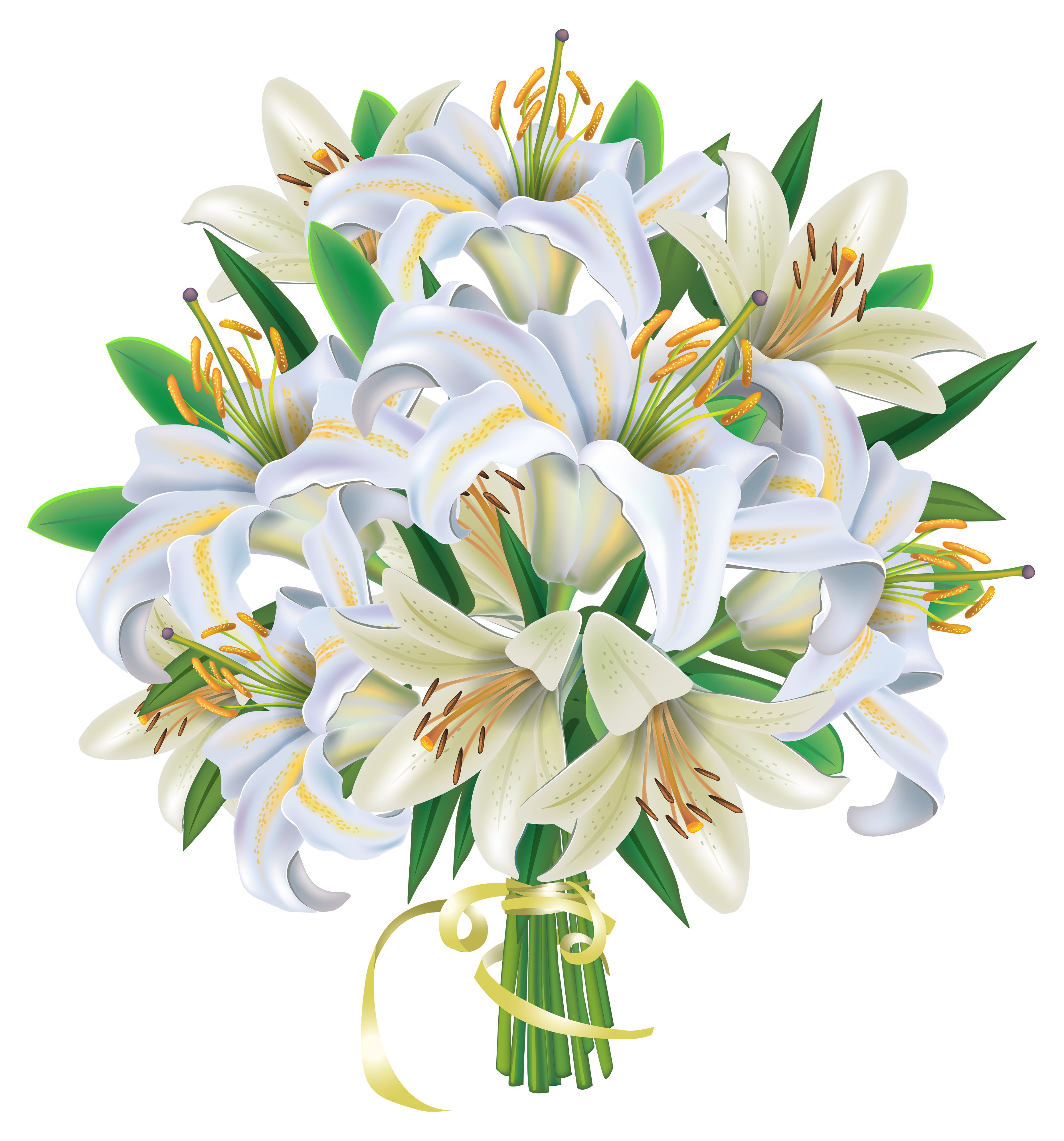Bunch of flowers clip art free image freeuse White Lilies Flowers Bouquet PNG Clipart Image | Gallery ... image freeuse