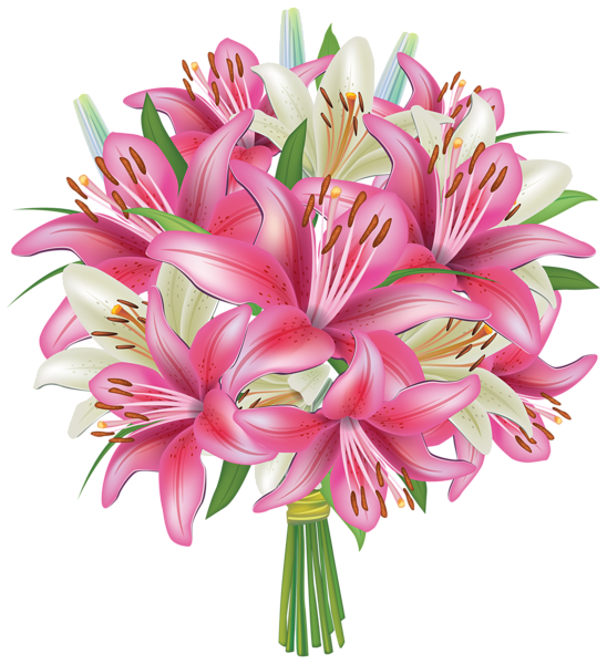 Clipart bunch of flowers clip art royalty free stock White and Pink Lilies Flowers Bouquet PNG Clipart Image | Flowers ... clip art royalty free stock