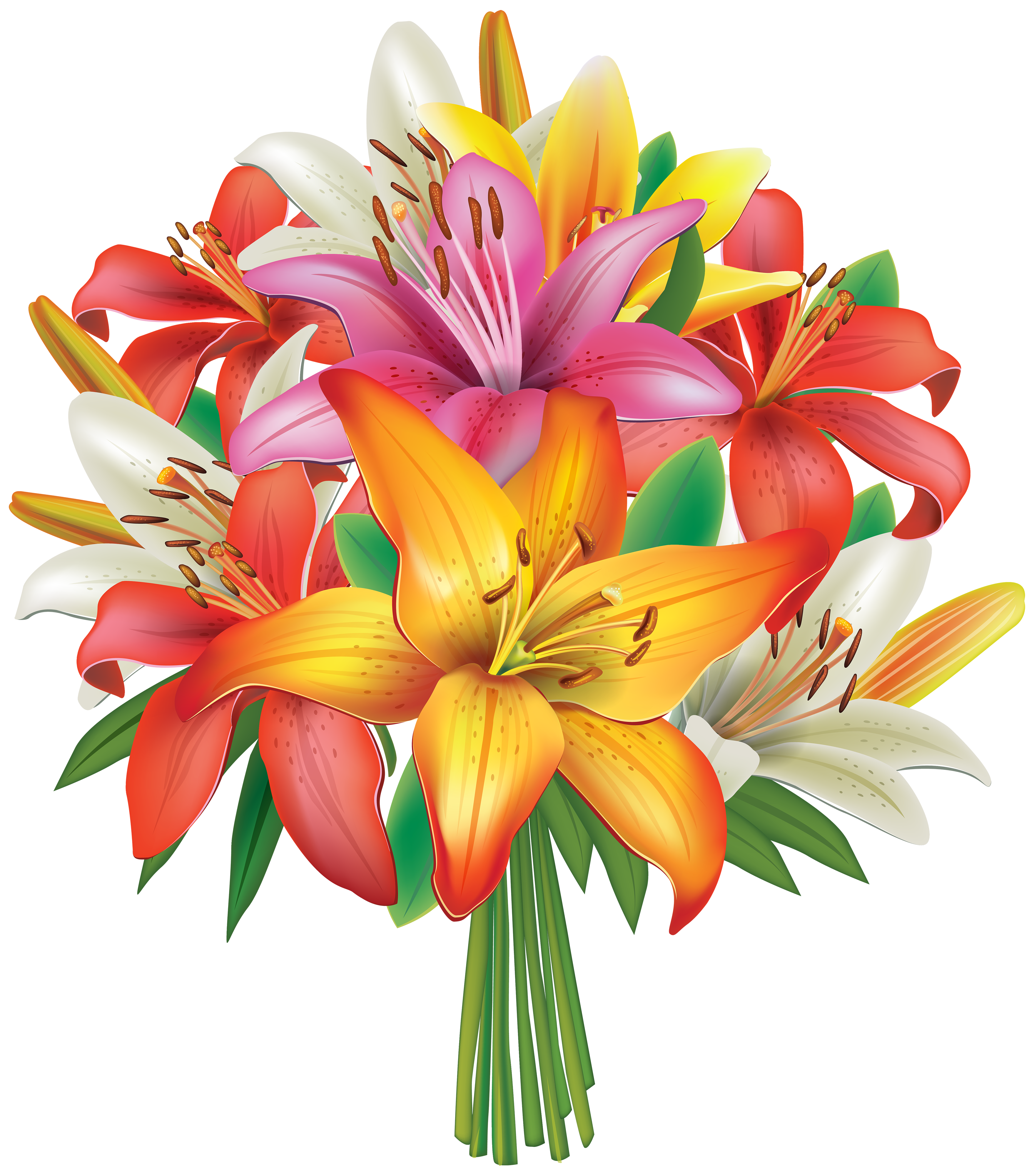 Bunch of flowers clipart free graphic royalty free stock Lilies Flowers Bouquet PNG Clipart Image | Gallery Yopriceville ... graphic royalty free stock
