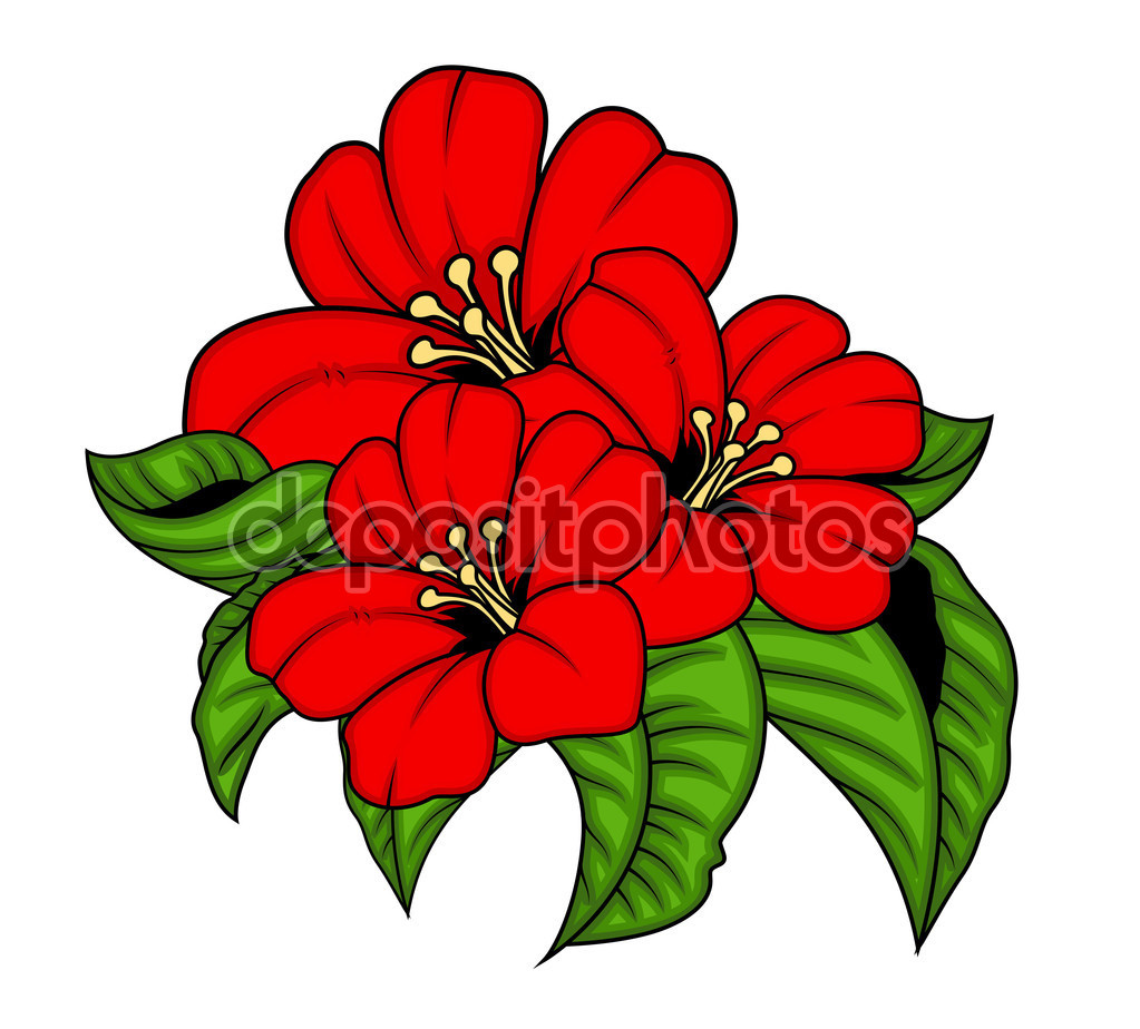 Bunch of flowers images download graphic freeuse library Red Flowers Vector Bunch — Stock Vector © baavli #64339527 graphic freeuse library