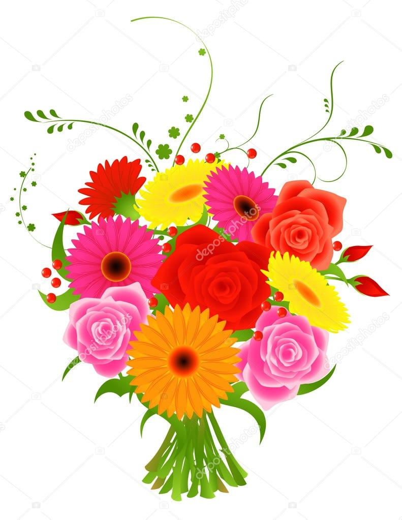 Bunch of flowers images download clip art royalty free download Bunch of flowers — Stock Vector © alegria #1708199 clip art royalty free download