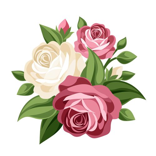 Bunch of roses clipart graphic royalty free download Elegant flowers bouquet vector 02 | Free Vector | Vector flowers ... graphic royalty free download