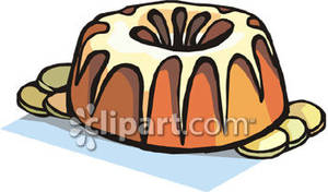 Bundt cake clipart picture black and white stock A Bundt Cake with Glaze Royalty Free Clipart Picture picture black and white stock