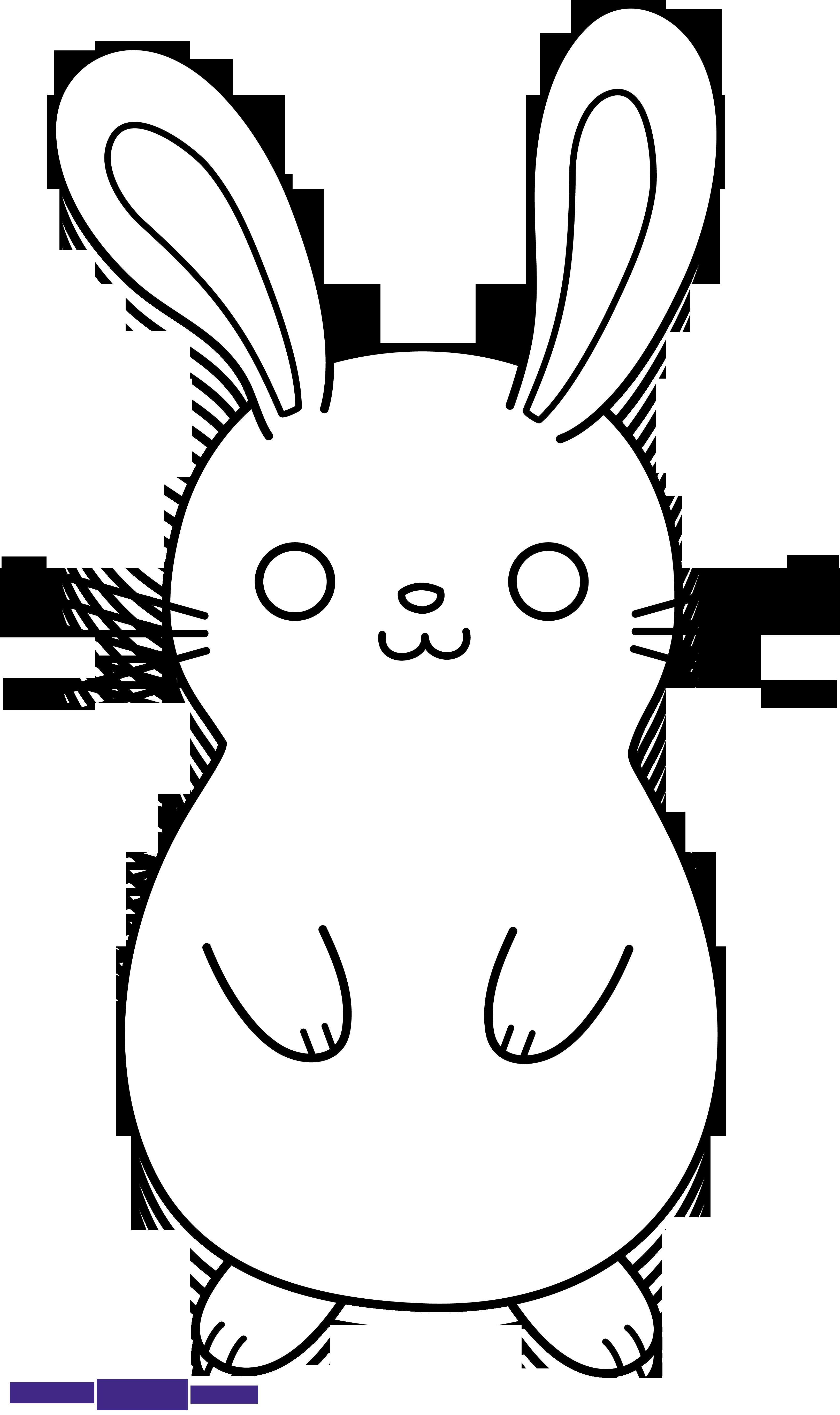 Bunny baseball clipart jpg royalty free download Bunny Rabbit Cute Lineart Black White Clipart - Sweet Clip Art jpg royalty free download