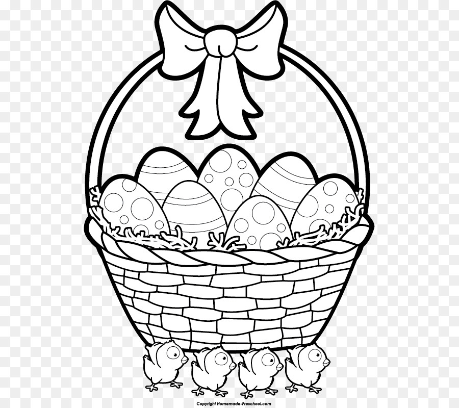 Bunny basket clipart black and white vector library library Black And White Flower png download - 571*797 - Free Transparent ... vector library library