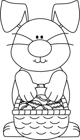 Bunny basket clipart black and white picture black and white stock Easter Clipart Black and White | Easter Bunny & Eggs | Easter ... picture black and white stock