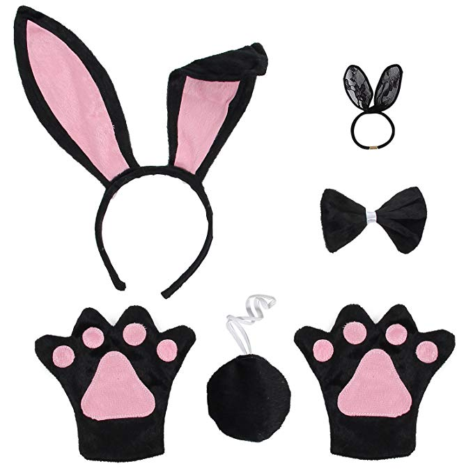 Bunny ears bow tie clipart svg library library JustinCostume Bunny Cosplay Set Ears Tail Bowtie Paws Hair Tie svg library library
