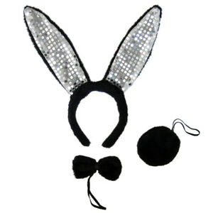 Bunny ears bow tie clipart clip freeuse Details about Black Plush Sequin Bunny Ears Tail & Bow Tie Costume Set ~  HALLOWEEN RABBIT KIT clip freeuse