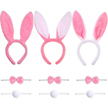 Bunny ears bow tie clipart clip transparent download 3 Sets Bunny Ears Headbands Tails and Bow Tie for Easter Costume Props  Supplies (Color Set 2) clip transparent download