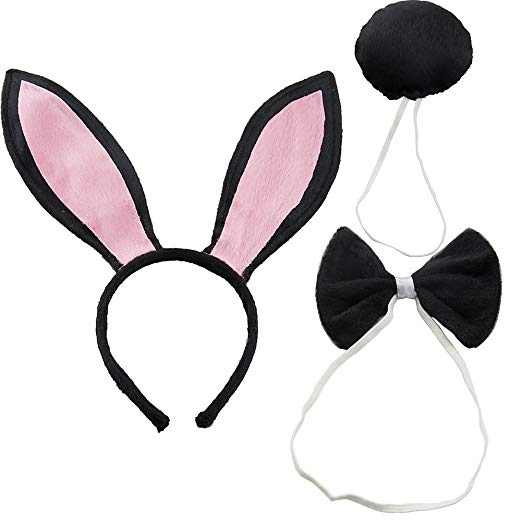 Bunny ears bow tie clipart clip transparent download CHUANGLI Women\'s Rabbit Ears Headband Tail Bow Tie Party Plush Bunny  Costume (Pack of 3) clip transparent download