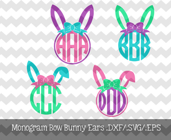Bunny ears monogram clipart banner freeuse The Monogram Bow Bunny Ears files are for use with your Silhouette ... banner freeuse