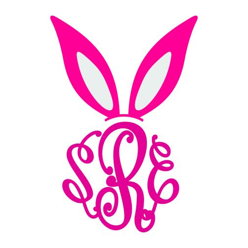 Bunny ears monogram clipart clipart transparent stock Bunny Ears Monogram Svg Cuttable Frames clipart transparent stock