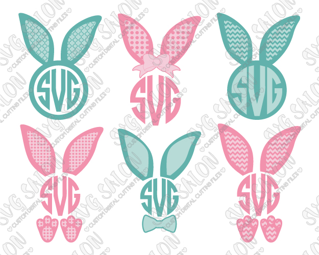 Bunny ears monogram clipart png free download Easter Bunny Ears Monogram Cut File Set in SVG, EPS, DXF, JPEG, and PNG png free download