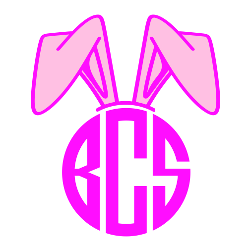 Bunny ears monogram clipart png free download Bunny Ears Monogram Svg Cuttable Frames png free download