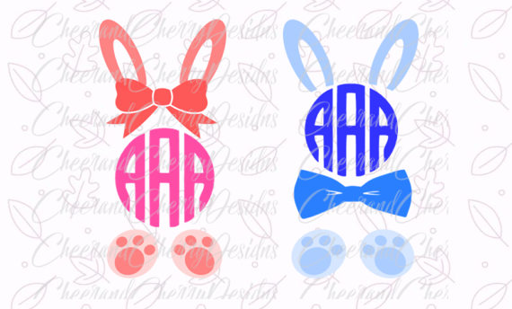 Bunny ears monogram clipart svg black and white stock Easter SVG Easter Monogram SVG Bunny Monogram SVG Bunny svg Bunny ... svg black and white stock