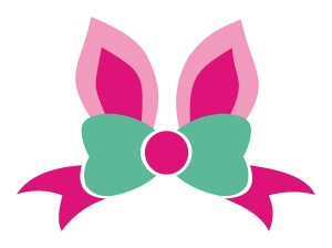 Bunny ears monogram clipart clip freeuse download Bow with Bunny Ears Monogram Frame clip freeuse download