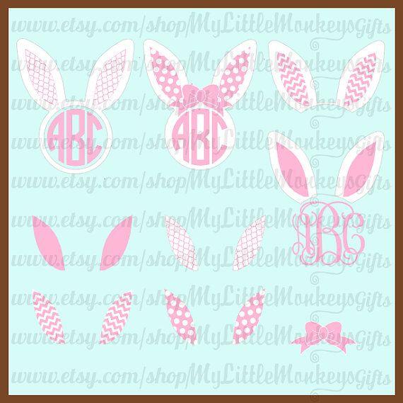 Bunny ears monogram clipart image royalty free Bunny Ears Monogram Design Mix and Match Ears Polka Dots, Chevron ... image royalty free
