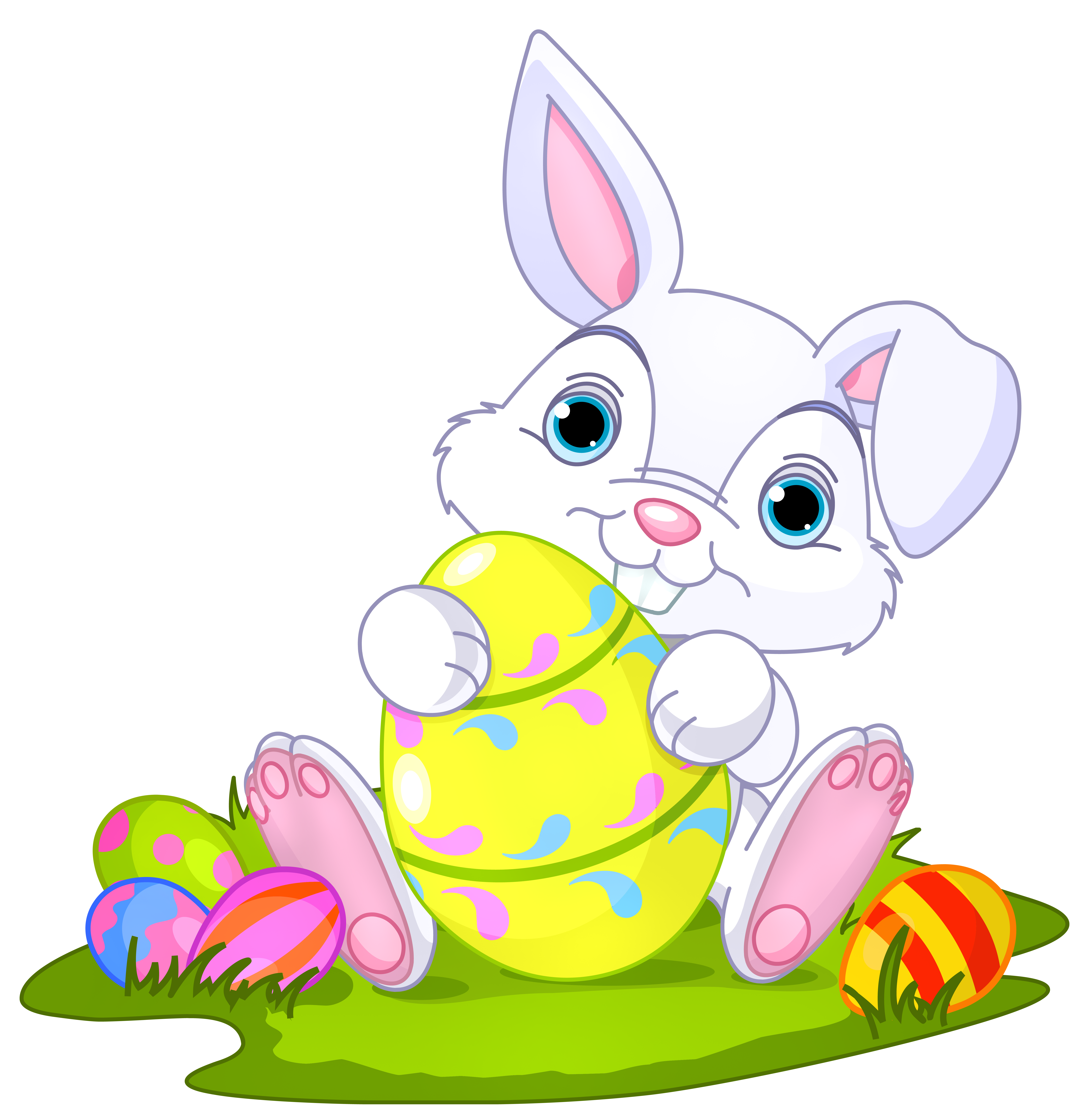 Bunny flower clipart picture black and white Easter Bunny with Eggs Decor PNG Clipart Picture | Gallery ... picture black and white