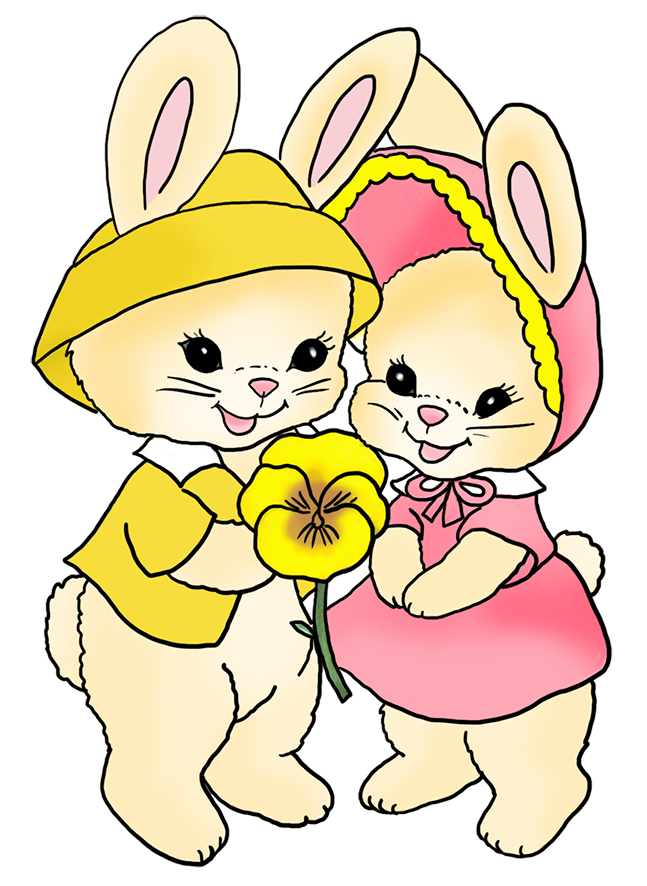 Bunny flower clipart clip library Funny Easter Bunny Clipart clip library
