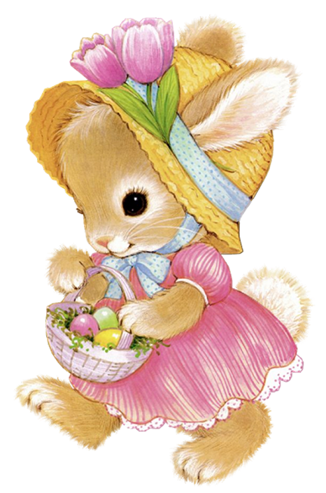 Bunny flower clipart freeuse Cute Easter Bunny Girl PNG Clipart Picture | Gallery Yopriceville ... freeuse