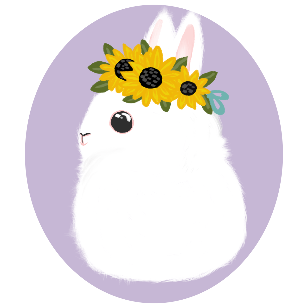 Bunny flower crown clipart picture black and white library Spring and Summer Bunnies (as long as you credit... picture black and white library