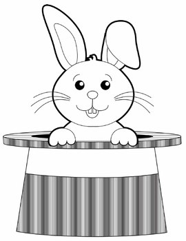 Bunny in a hat clipart black and white banner stock Rabbit in a Hat - Magic Rabbit Clip Art Set banner stock