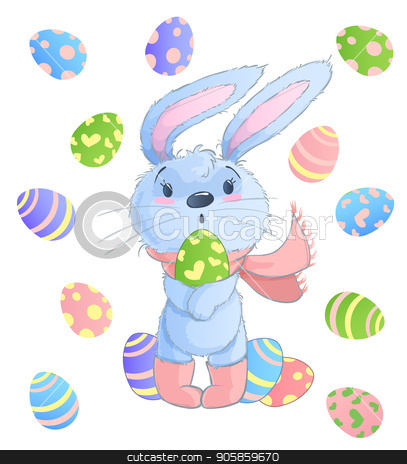 Bunny rules clipart banner freeuse Happy Easter Bunny. Vector illustration clipart set for Easter ... banner freeuse
